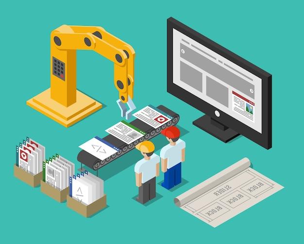Interfaccia del sito web del processo di sviluppo. costruzione e gru, funzione flusso di lavoro, costruzione e ottimizzazione e posto di lavoro, illustrazione vettoriale Vettore gratuito