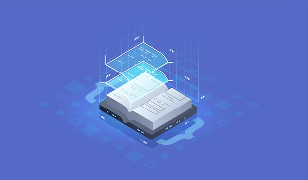 Development and software. concept of programming, data processing. source code icon. isometric conc