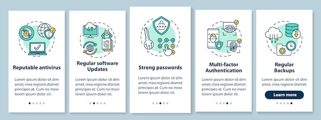 Device protection onboarding mobile app page screen with concepts Premium Vector