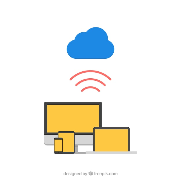 Devices connected to the cloud Free Vector