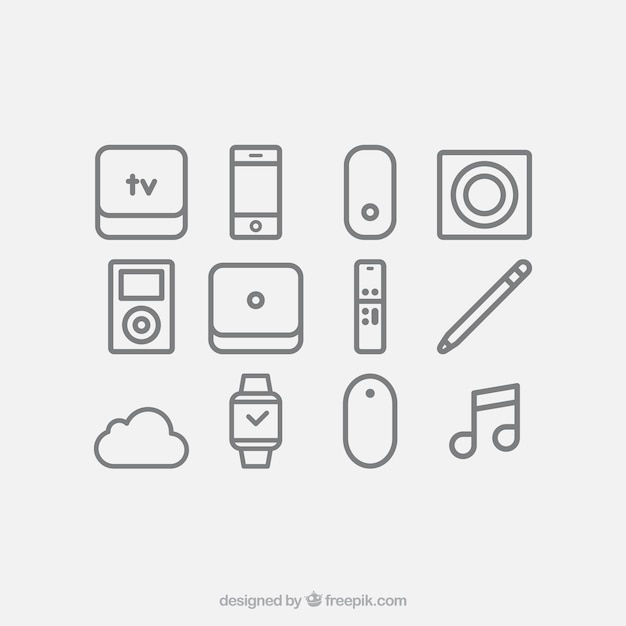 Devices icon set Free Vector