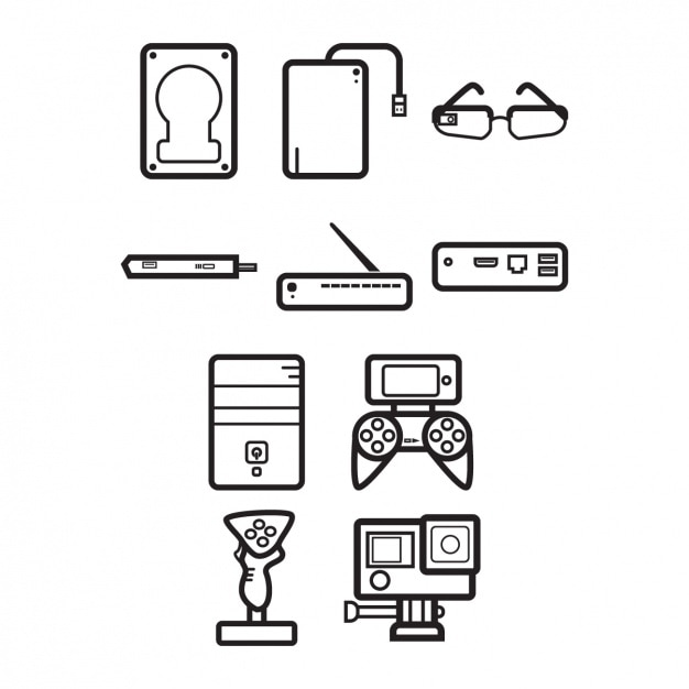Devices icons collection Free Vector