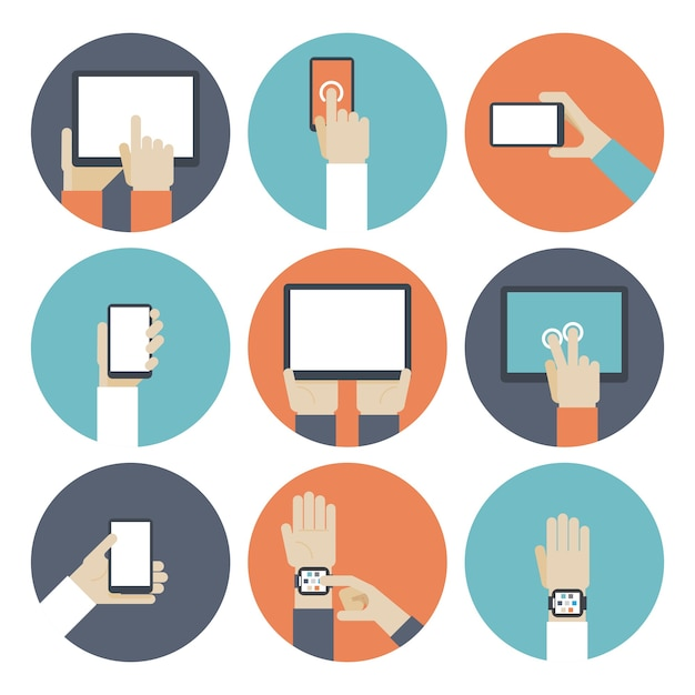 タッチスクリーンを使用して、手元にあるデバイス。スマートウォッチ、電子書籍とモニター、タッチパッドとガジェット、スマートフォンとタブレット。 無料ベクター