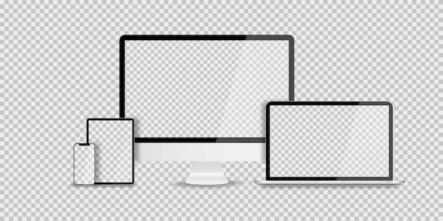 투명에 현실적인 유행 디자인의 장치 프리미엄 벡터