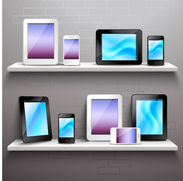 Devices on shelves Free Vector