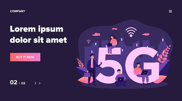 Devices users enjoying 5g city internet. people using smartphones and laptops. can be used for communication, interaction, high speed wireless connection, telecom equipment, social network concept Premium Vector