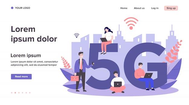 5gシティインターネットを楽しむデバイスユーザー Premiumベクター