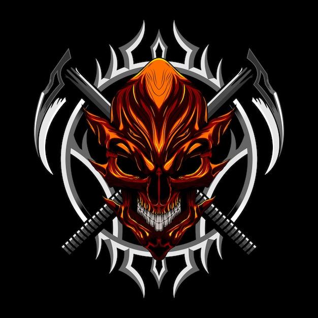 Devil evil skull and weapon Premium Vector