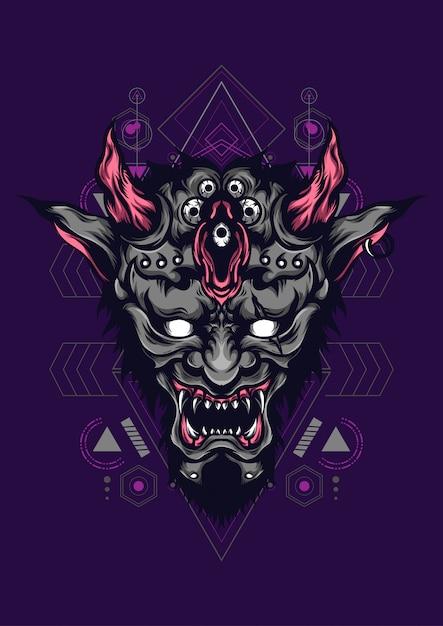 Devil face sacred geometry Vector | Premium Download