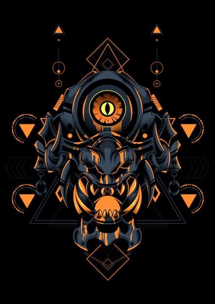 Devil face sacred geometry Premium Vector