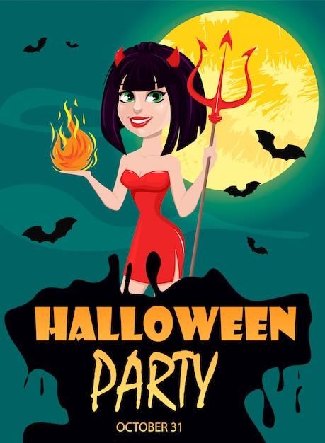 Devil girl for halloween party invitation Premium Vector