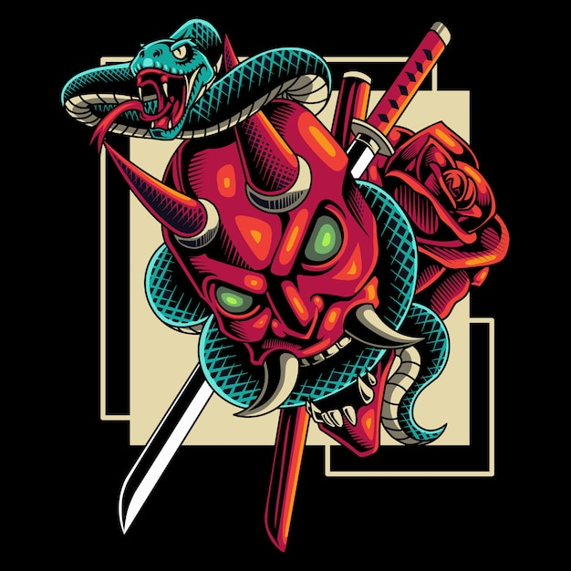 Devil head with snake mascot Premium Vector