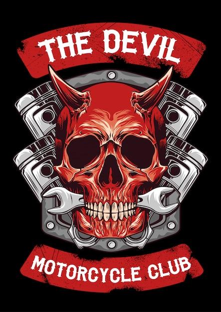 Devil and piston emblem Premium Vector