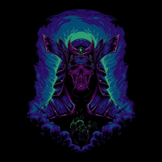Devil samurai illustration Premium Vector