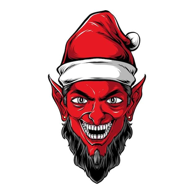악마 산타 머리 벡터 아트웍 프리미엄 벡터