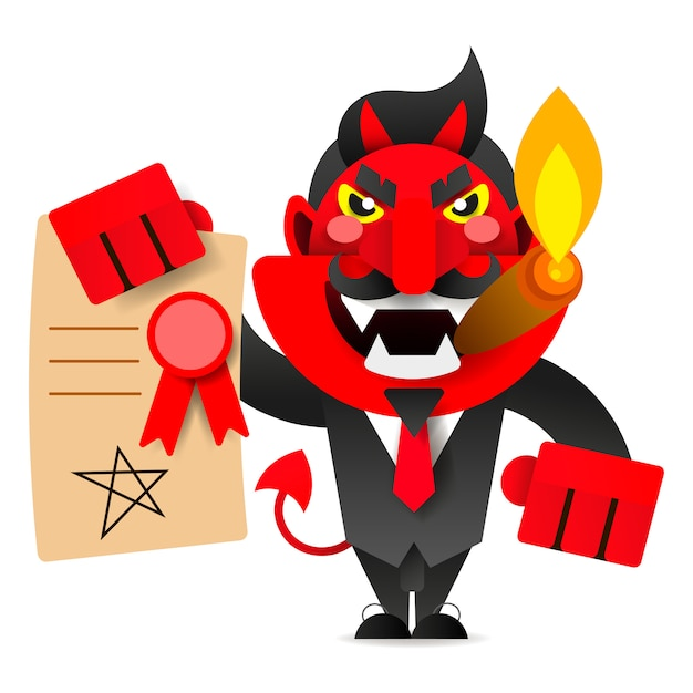 Devil showing the contract for your signature Premium Vector