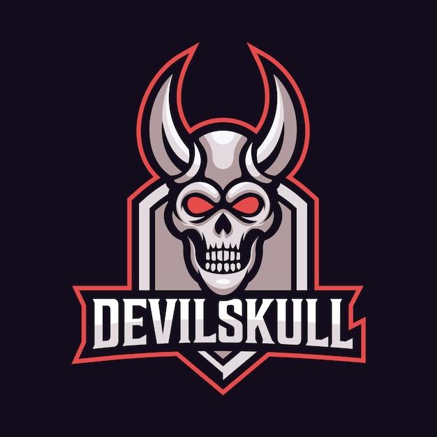 Devil skull mascot sport logo Premium Vector