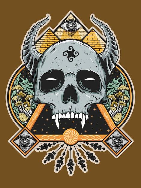 Devil skull for shirt design Premium Vector