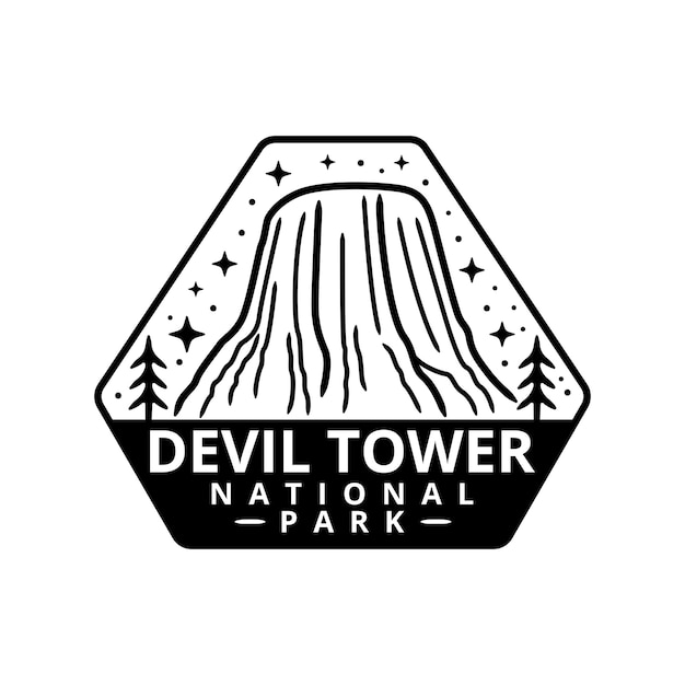 Devil tower national park sticker Premium Vector