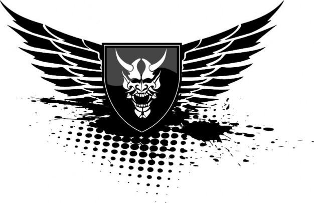 Diavolo ali scudo nero icone vettoriali Vettore gratuito