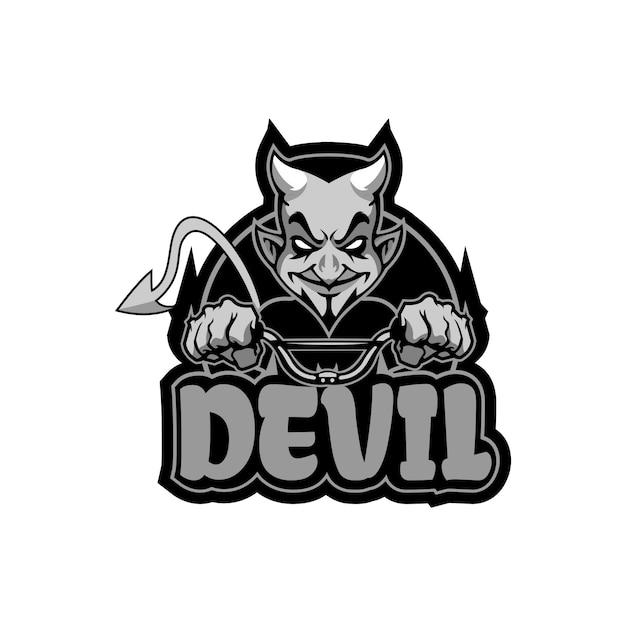 Devil with bike Premium Vector