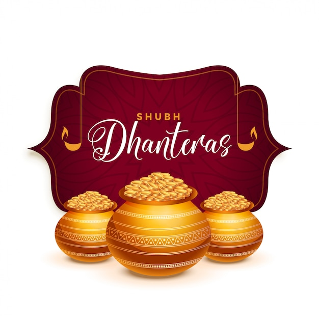 Dhanteras festival greeting card with golden pot Free Vector