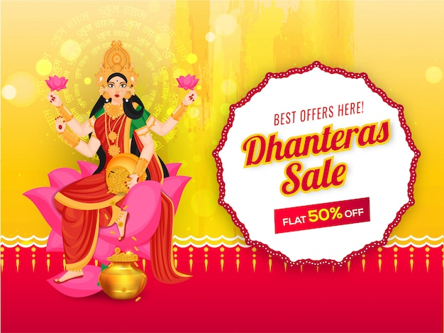 Dhanteras sale banner design with 50% discount offer and illustration of goddess lakshmi maa Premium Vector