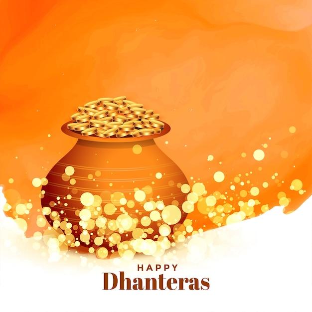 Прекрасная счастливая карта фестиваля dhanteras с горшком с золотой монетой Бесплатные векторы