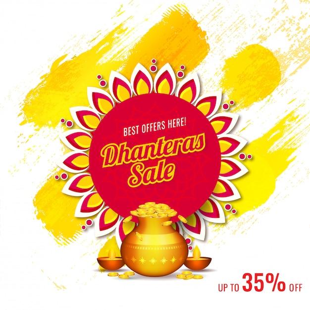 Dhanterasセールの割引オファーと広告バナーテンプレートデザイン。 Premiumベクター