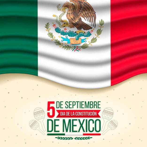 Día de la constitución with realistic flag Premium Vector