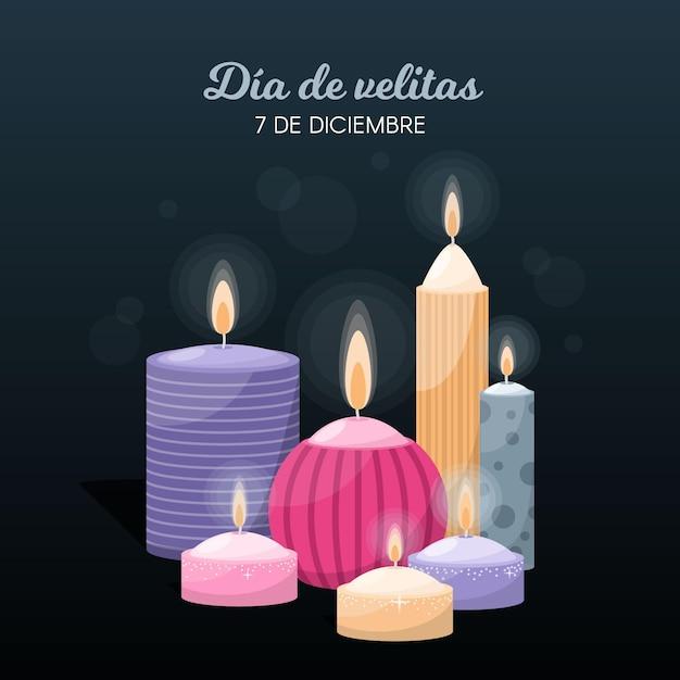 Día de las velitas celebrazione design piatto Vettore gratuito