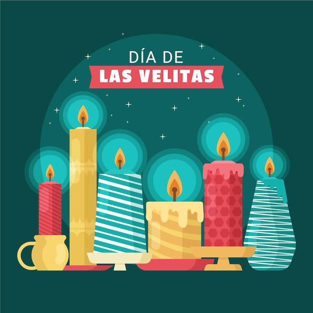 Dia de las velitas con candele Vettore gratuito