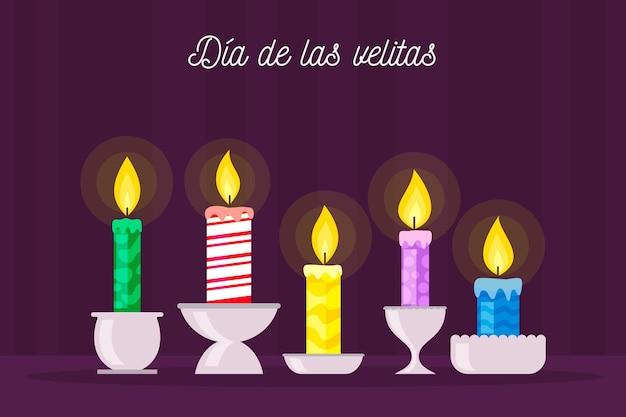 Dia de las velitas con candele alleggerite Vettore gratuito
