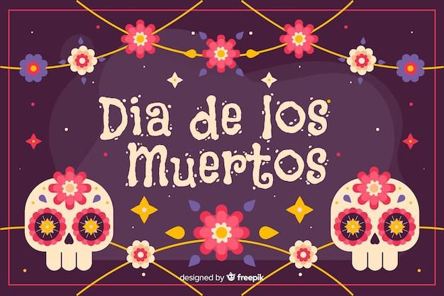 Dia de los muertos background with skulls Free Vector