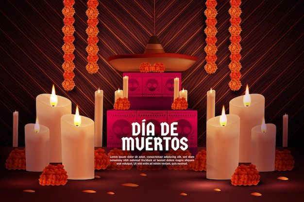 Dia de los muertos background Premium Vector