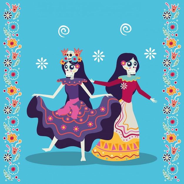 Диа-де-лос-муэрто открытка с катринами, танцующими персонажами Premium векторы