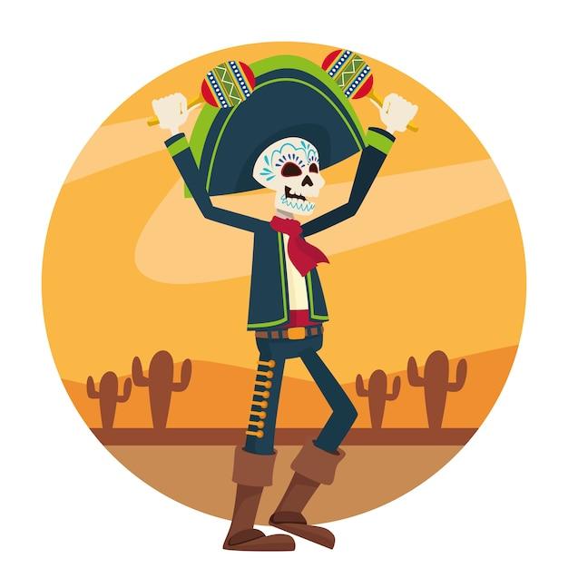 砂漠でマラカスを演奏するマリアッチの骨格を持つディアデロスムエルトスのお祝いカード Premiumベクター