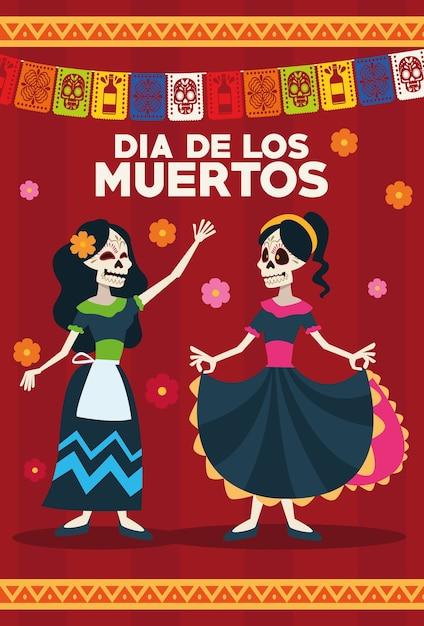 スケルトンの女の子と花輪が付いたdiade losmuertosのお祝いカード Premiumベクター