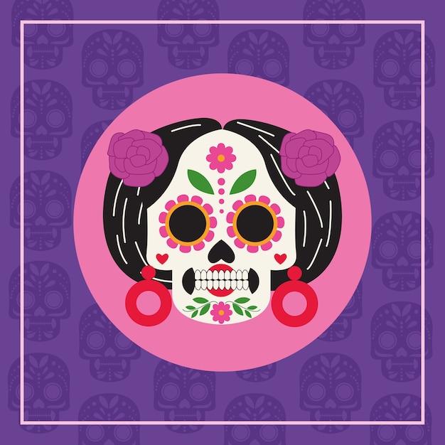 Catrina 머리 벡터 일러스트 디자인으로 Dia De Los Muertos 축하 포스터 프리미엄 벡터