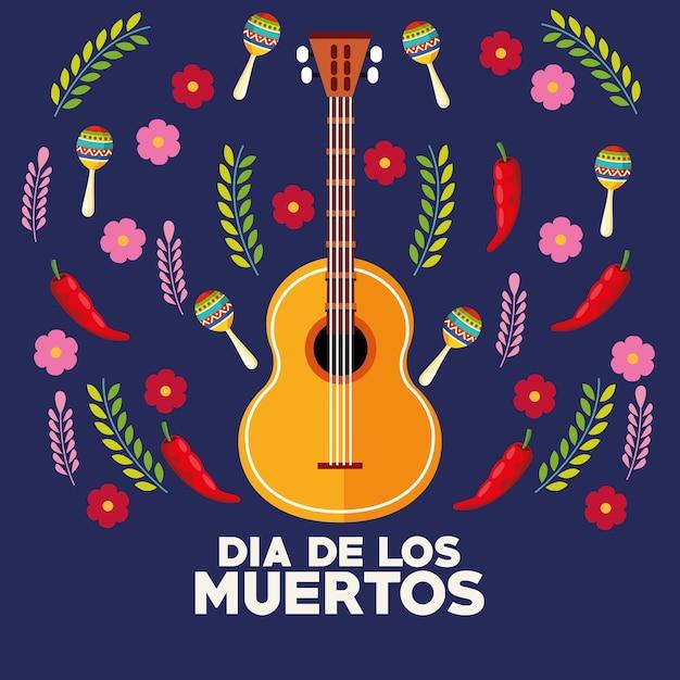 기타와 꽃 벡터 일러스트 디자인으로 Dia De Los Muertos 축하 포스터 프리미엄 벡터