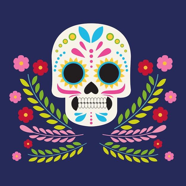 두개골 머리와 꽃 벡터 일러스트 디자인으로 Dia De Los Muertos 축하 포스터 프리미엄 벡터