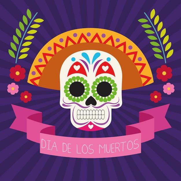 두개골 머리와 리본 프레임 벡터 일러스트 디자인으로 Dia De Los Muertos 축하 포스터 프리미엄 벡터