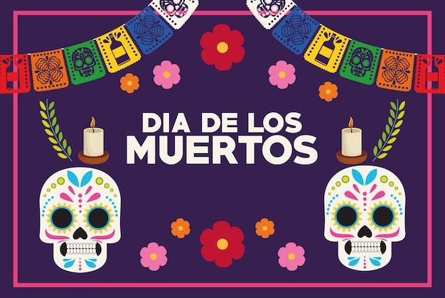 두개골 부부와 화환 벡터 일러스트 디자인으로 Dia De Los Muertos 축하 포스터 프리미엄 벡터