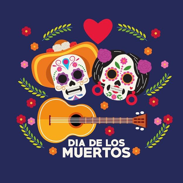 두개골 부부와 기타 벡터 일러스트 디자인으로 Dia De Los Muertos 축하 포스터 프리미엄 벡터