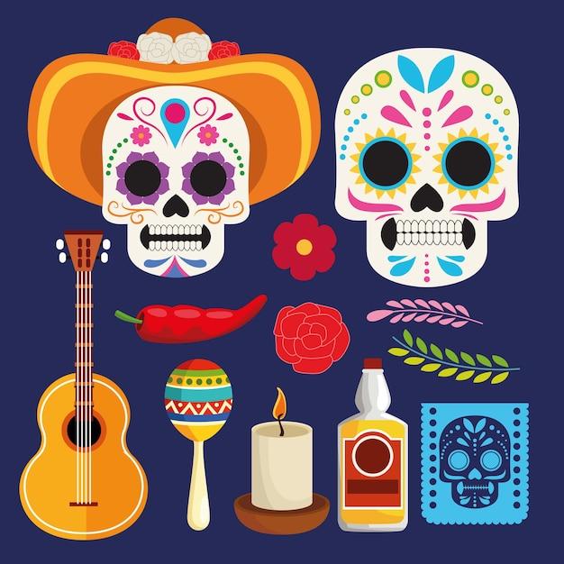 두개골 부부와 악기 벡터 일러스트 레이 션 디자인 Dia De Los Muertos 축하 포스터 프리미엄 벡터
