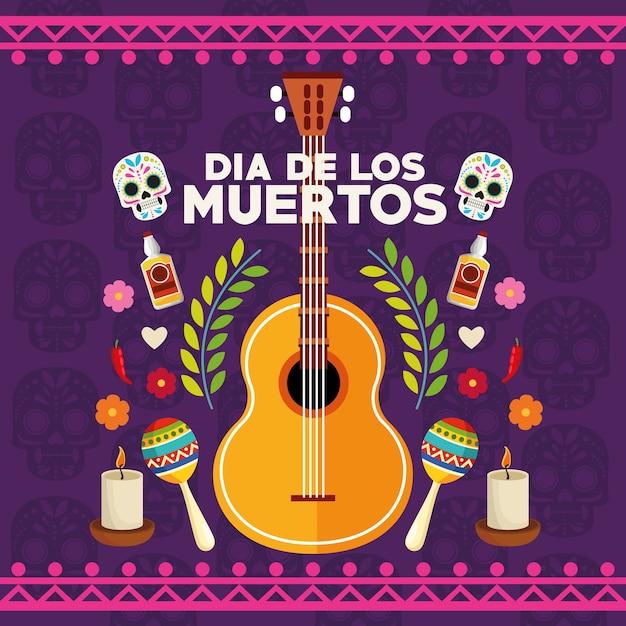 두개골 부부와 설정된 아이콘 벡터 일러스트 레이 션 디자인 Dia De Los Muertos 축하 포스터 프리미엄 벡터