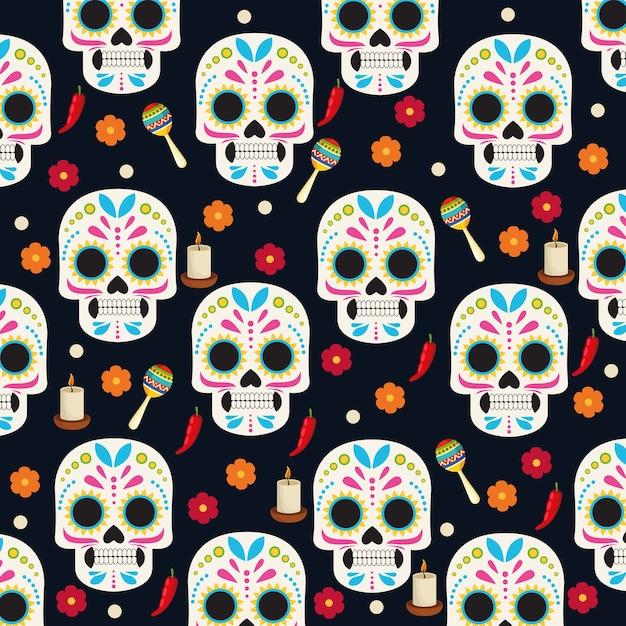 두개골 머리와 꽃 그룹 패턴 벡터 일러스트 디자인으로 Dia De Los Muertos 축하 포스터 프리미엄 벡터