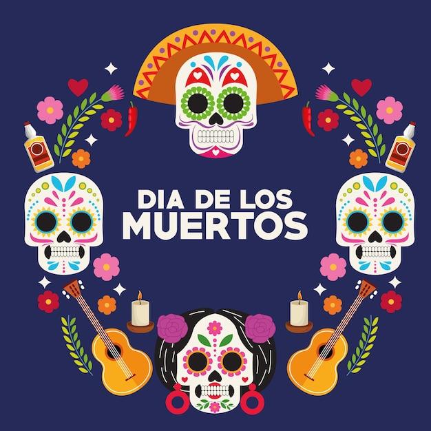벡터 일러스트 레이 션 디자인 주위 두개골 머리 그룹 및 기타와 함께 Dia De Los Muertos 축하 포스터 프리미엄 벡터
