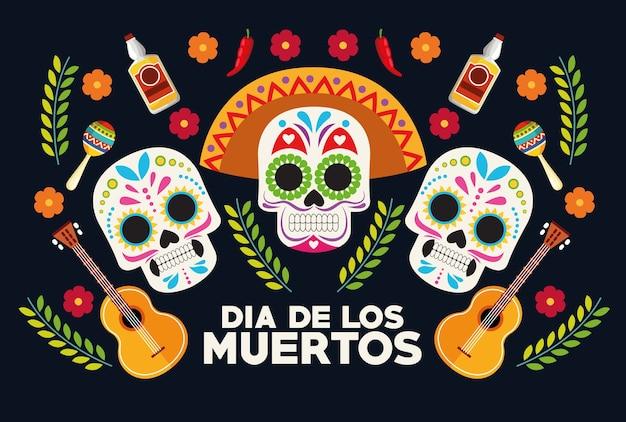 두개골 머리 그룹 및 기타 벡터 일러스트 디자인으로 Dia De Los Muertos 축하 포스터 프리미엄 벡터