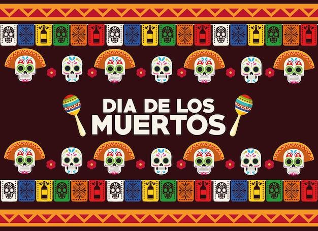 두개골 머리 그룹 및 마라카스 벡터 일러스트 디자인으로 Dia De Los Muertos 축하 포스터 프리미엄 벡터